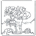 Coloriage thème - Fleur avec Pâques