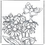 Coloriages faits divers - Fleur et papillon