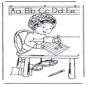 Garçon apprend à écrire