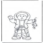 Coloriages pour enfants - Garçon avec poisson