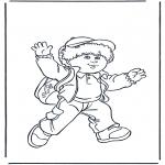 Coloriages pour enfants - Garçon avec sac