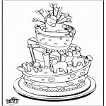 Coloriage thème - Gâteau de célébration
