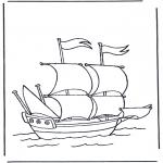 Coloriages faits divers - Grand yacht à voiles