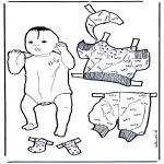 Bricolage coloriages - Habiller le bébé