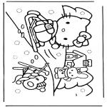 Personnages de bande dessinée - Hello Kitty dans la neige