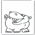 Coloriages d'animaux - Hippopotame 2