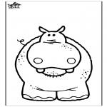 Coloriages d'animaux - Hippopotame 3