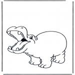 Coloriages d'animaux - Hippopotame contant