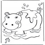 Coloriages d'animaux - Hippopotame dans leau