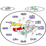 Coloriage thème - Horloge Carnaval