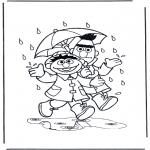 Coloriages pour enfants - Il pleut
