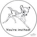 Bricolage coloriages - Invitation - Bambi