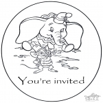 Bricolage coloriages - Invitation Dumbo