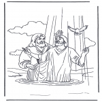 Coloriages Bible - Jésus et Jean le Baptiste 2