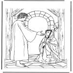 Coloriages Bible - Jésus et la femme malade