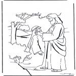 Coloriages Bible - Jésus guérit un sourd