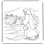 Coloriages Bible - Jésus marche sur l'eau