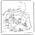 Coloriages Bible - Jésus prie dans le jardin