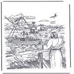 Coloriages Bible - Jésus qui apelle Simon et Andreas