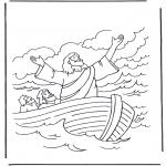Coloriages Bible - Jésus sur l'eau 1