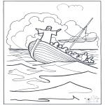 Coloriages Bible - Jésus sur l'eau 2