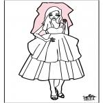 Coloriage thème - Jeune mariée