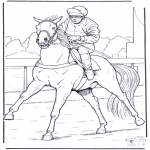 Coloriages d'animaux - Jockey à cheval