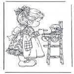 Coloriages faits divers - Joue avec la poupée