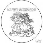 Coloriage thème - Joyeux anniversaire 2