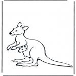 Coloriages d'animaux - Kangourou  et jeune