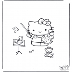 Coloriages faits divers - Kitty avec violon