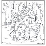 Coloriages faits divers - La maison de Hansel et Gretel