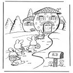 Coloriage thème - La maison du lièvre de Pâques