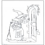 Coloriages faits divers - La sorcière frappe à la porte