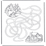Coloriages hiver - Labyrinthe Cerf