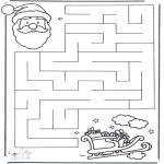 Bricolage coloriages - Labyrinthe du Père Noël