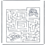 Bricolage coloriages - Labyrinthe fille