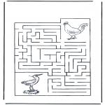 Bricolage coloriages - Labyrinthe oiseaux