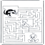 Bricolage coloriages - Labyrinthe Titi et Grosminet
