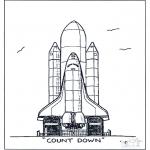 Coloriages faits divers - Lancement de fusée