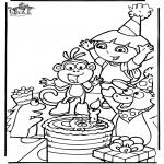 Coloriage thème - L'anniversaire de Dora