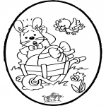 Coloriage thème - Lapin de Pâques - Dessin à piquer 1