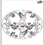 Coloriage thème - Lapin de Pâques - Dessin à piquer 3