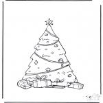 Coloriages Noël - l'arbre de Noël décoré