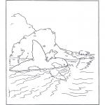 Coloriages pour enfants - Lars sur un orque