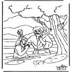 Coloriages Bible - Le baptême de Jésus 1