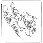 Personnages de bande dessinée - Le cheval de Diddl sur les skis