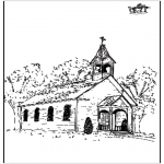 Coloriages Bible - L'eglise 2
