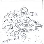 Personnages de bande dessinée - les neveux comme grenouille