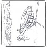 Coloriages faits divers - L'hélicoptère survole la mer